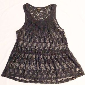 Express Navy Blue Lace Tank Top Sleeveless Tunic